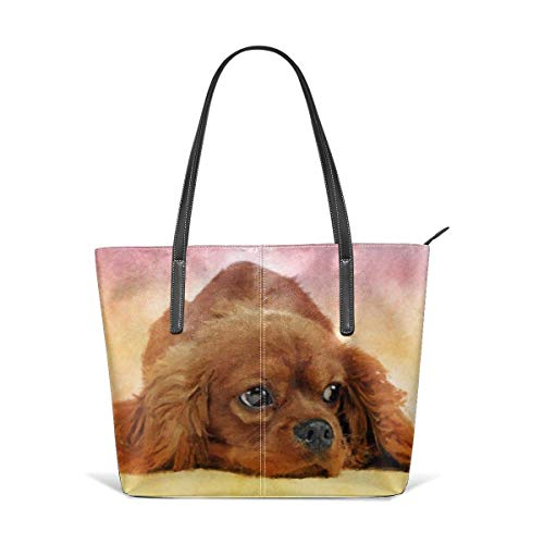 Mode Handtaschen Einkaufstasche Top Griff Umhängetaschen Cavalier king charles spaniel Leather Tote Large Purse Shoulder Bag Portable Storage HandBags Convenient Shoppers Tote -