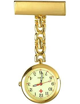 SSITG Schwesternuhr Krankenschwester Quarz Uhr Pflegeuhr Pulsuhr Metall Silber