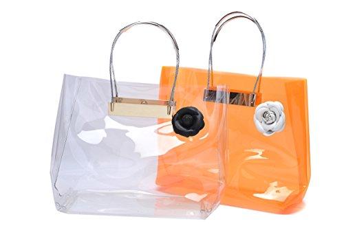 zarapack, Borsa tote donna PU Orange large Trasparente
