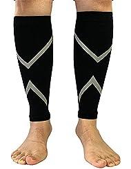 AONER- Un par Medias Pantorrilleras Calcetines Perneras de Compresion - Calentadores de Piernas Unisex Negros para Running Correr - Compression Socks (XL)