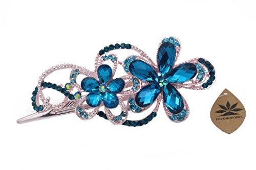 Totoroforet: Victoria/strass a forma di fiore in bronzo/strass capelli clip/pinza---- Blu