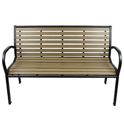 Gartenbank Metall Polywood / Non Wood Parkbank Sitzbank 125x80x62cm - schwarz / grau-beige Gartenmöbel Terrassenmöbel Balkonmöbel