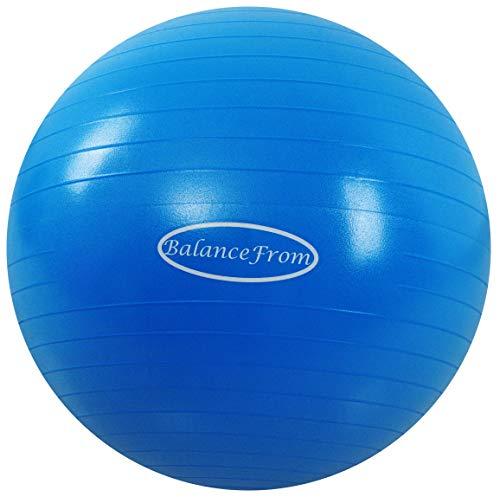 st- und Rutschfester Gymnastikball, Yoga-Ball, Fitness-Ball, Geburtsball, mit Schnellpumpe, Kapazität von 2.000 Pfund (38-45 cm, S, blau) ()