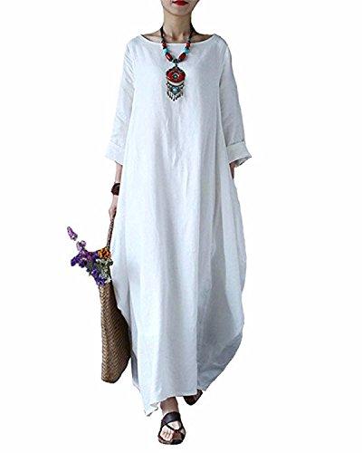 BONESUN Damen Sommer Batwing Leinen Baumwolle lose Kaftan Casual Kleid Große Größe Einfarbig Weiß DE 36 (Leinen-baumwoll-kleid)