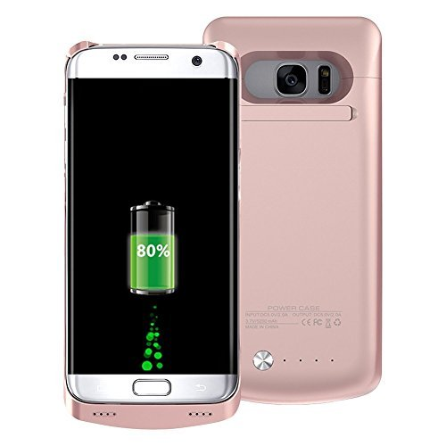 Samsung Galaxy S7 Edge Charger Case 5200mAh Ultra Slim Rechargeable Portable External Backup Battery Pack-Charger Cover-Protective Case Power Bank Case (Rose Gold)