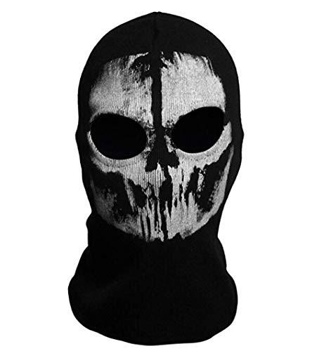 Black Sugar mixte Ghost - Tete de Mort Cagoule noire crâne de mort Masque intégral coupe-vent Résistant à la poussière Vélo Moto Masque motard Halloween Cosplay Party Cyclisme Randonnée Ski (Modèle G)