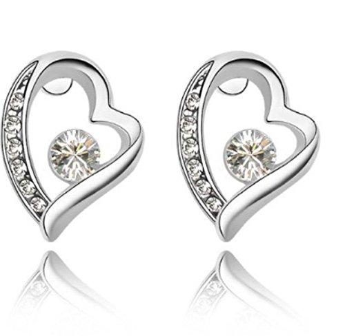 Swarovski Elements cristallo-Orecchini a perno a forma di cuore Back to love bianco