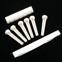 ammoon A Set of Folk Guitar Bone Bridge Pins Saddle Nut