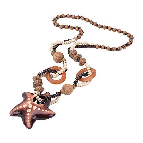 Carry stone Geometrische Perlen Kette Halskette braun Holzstern Lange Halskette für Frauen Schmuck Geschenk langlebig und praktisch