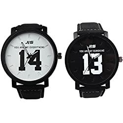 OverDose 2PCS Couple Watch Fashion Leather Band Quartz Analog Wrist Watch