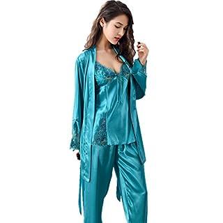 Amybria Frauen Qualitäts Seide Spitze Lange Hülsen Mischung 3Pcs Pyjama Set/Kleid Für Die Hochzeit Grün Größe S/36