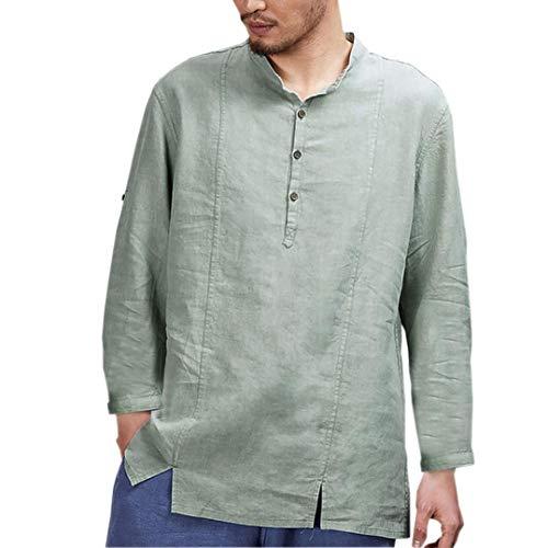 Mens cotone lino camicie casual maniche lunghe stand collo top camicetta sciolto,yesmile casual manica lunga camicia uomo classiche camicia