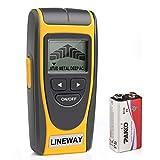Lineway Stud Buscador de pared con pantalla LCD, detector de sensor de pared con advertencia de sonido para madera, cables de CA vivos, metal, tacos de pared
