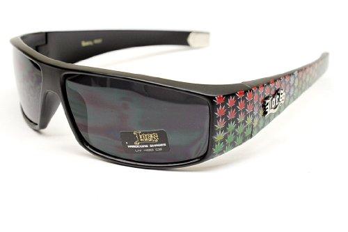 Locs Rasta Gangster Thug Biker Vintage Retro Sonnenbrille LC 50 (, Uv400) uv400 Matt-schwarz