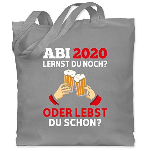 Shirtracer Abi & Abschluss - ABI 2020 - Lernst du noch oder lebst du schon? - Unisize - Hellgrau - WM101 - Stoffbeutel aus Baumwolle Jutebeutel lange Henkel