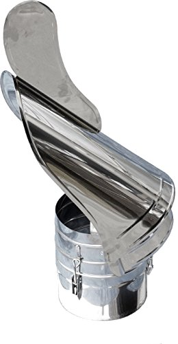 Kaminhut-Chapeau de toiture v4A- Rotatif avec Emplacement Inoxydable-diamètre 180 mm