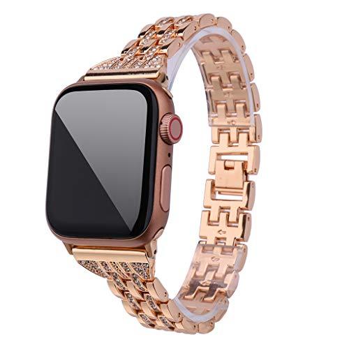 Upxiang für Apple Watch Series 4/3/2/1 42mm/44mm Armaband Metall Wrist Band Strap Ersetze Strass Diamant Uhrenarmband Sport Armbänder
