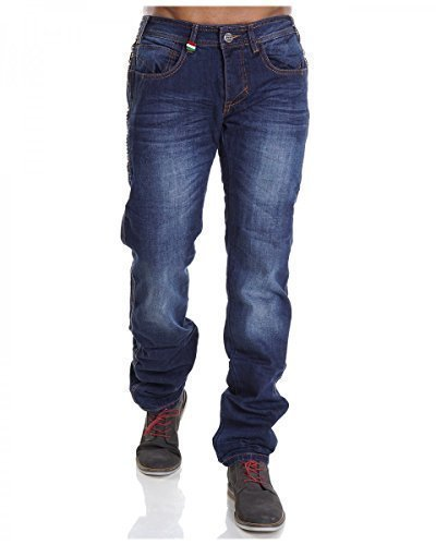 Herren Jeans Hose Regular Stil Clubwear Straight Fit Chinohose Used Style H2087, Hosengröße:W32;Farbe:Blau
