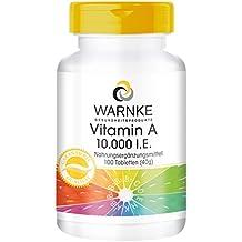 WARNKE – Vitamina A – 10.000 U.I. – 100 compresse - Importante per pelle, mucose, tessuti e l'intestino / Essenziale nella formazione della porpora visiva
