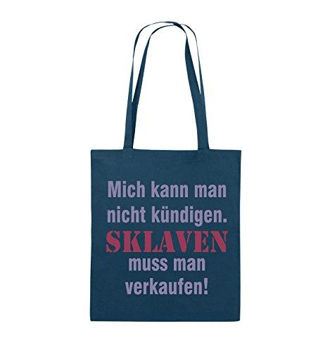 Comedy Bags - Mich kann man nicht kündigen. Sklaven muss man verkaufen! - Jutebeutel - lange Henkel - 38x42cm - Farbe: Schwarz / Weiss-Neongrün Navy / Violet-Fuchsia