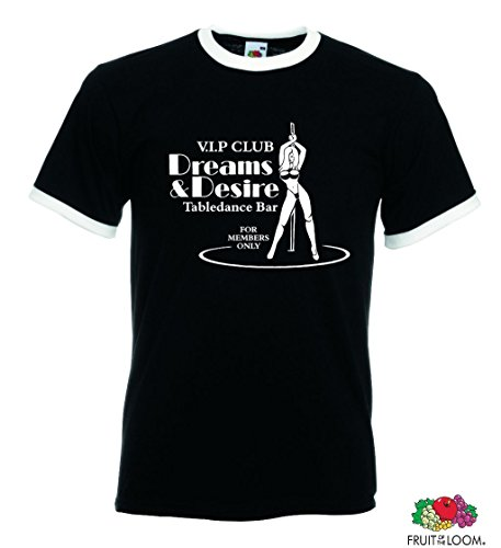 world-of-shirt Unisex Retro V.I.P. Dreams&Desire T-Shirt Tabledance Schwarz