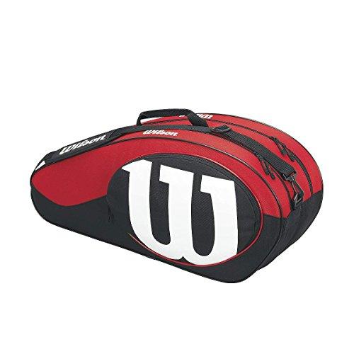 Wilson Damen/Herren-Tennistasche, Für Spieler aller Spielstärken, Match II 6PK, Einheitsgröße, schwarz/rot, WRZ820606