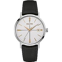 Bulova Classic Aerojet 98B254 - Reloj de pulsera de diseño para hombre - Correa de cuero - Color oro rosa y negro