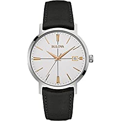Bulova Men's Designer Watch Leather Strap - Black Rose Gold Classic Aerojet Wrist Watch 98B254