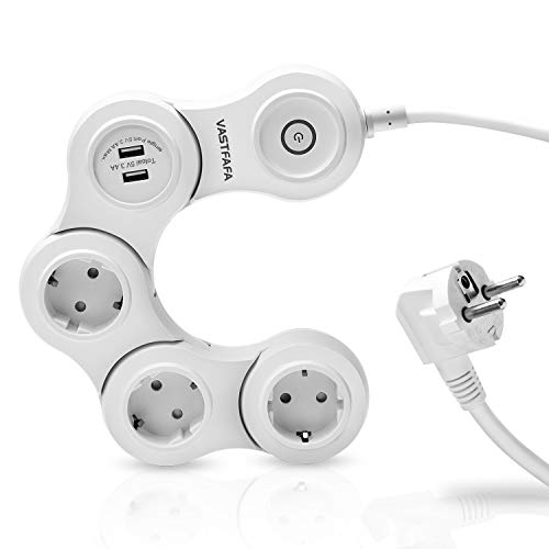 VASTFAFA Regleta 3 enchufes e 2 Puertos de Carga USB(5V 2.4A),Regletas 3 Tomas con interruptor y protector de sobretensión(1.5M de Cable,Blanco)
