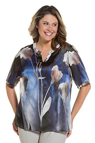 Ulla Popken Femme Grandes Tailles Tunique en Soie Imprimé Floral à Demi-Manches et Col V 712035 bleu cobalt