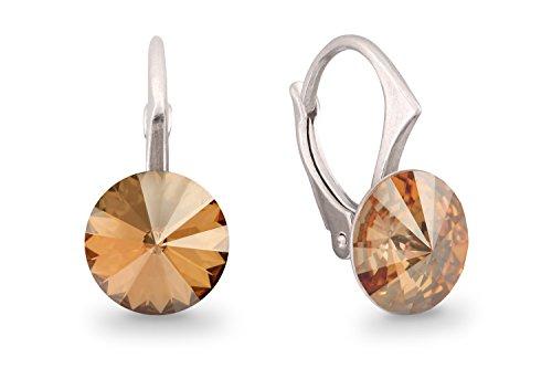 Ana Morales Boucles d'oreille pour femme en argent Sterling 925 avec cristaux Swarovski® Golden Shadow