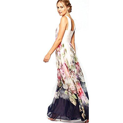 d Basic Floral Wickelkleider Strandkleider Lange Druckkleider für Damen (L, Multicolor) (Tanz Kostüme Urlaub)