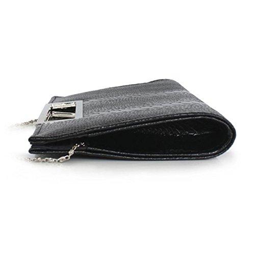 Damen Abendtasche Mode Schlangen Muster Helle PU-Handtasche Neue Handytasche Black