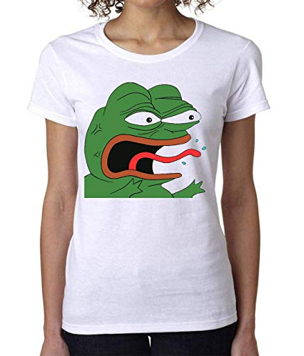 PasTomka Pepe Frog Screaming Women's T-Shirt Camiseta Mujer Small