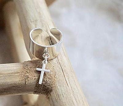 Bague breloque croix en argent 925