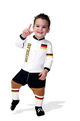 Weiße Kinder-schlafanzug (Footysuit Kinder Germany Schlafanzug Einheitsgröße weiß)