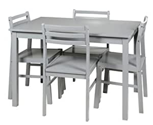 TABLE + 4 CHAISES DETROIT GRIS