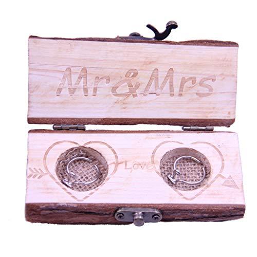 Ycncixwd Schmuckkästchen für Eheringe im Vintage-Stil aus Holz -