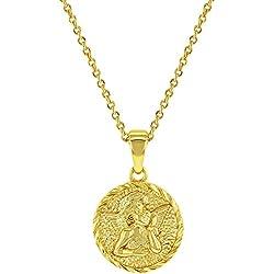 In Season Jewelry Pendentif médaille Ange Gardien plaqué Or Jaune 18 carats Cadeau de baptême 45,7 cm
