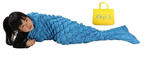 Mermaid Tail Blanket Crochet enfants pour Yier® Salon Chambre Canapé Super Soft couvertures Sacs de couchage-Bleu
