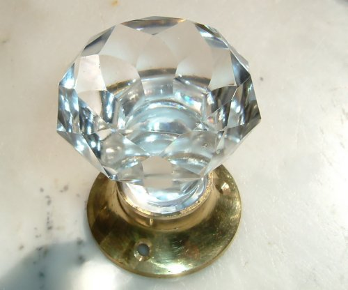 Crystal clear sparkling cut glass doorknobs brass base (pair) by Peter Sharpe Sharpe Base