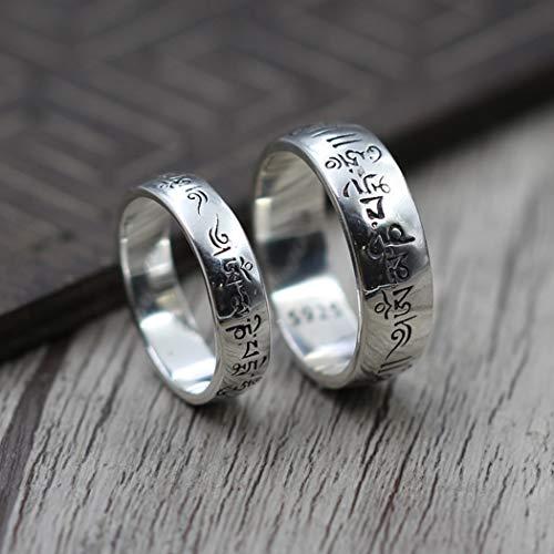 YOYOYAYA Ring S 925 Sterling Silber Schmuck Thai Silber 6-Zeichen Wahrheit Retro Classic Partei Frau Paar Delikatesse Fashion Einfachheit Geburtstag Gedenken Geschenk, Nein. 13 (Abschnitt)