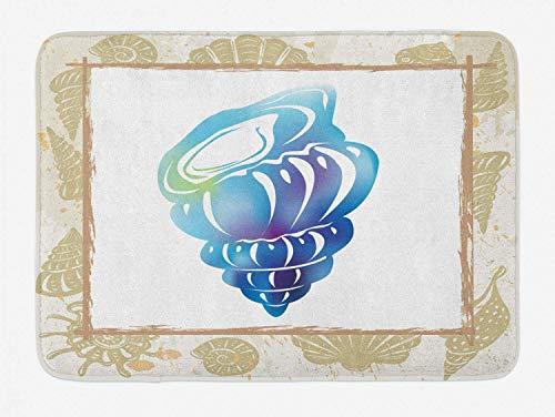 YnimioHOB Shell Badematte, aquatische stilisierte Cockleshell Coastal Fauna Muschel Muschel im Rahmen Ruhe Print, Plüsch Badezimmer Dekor Matte mit rutschfesten Rücken, Multicolor - Fauna Muscheln