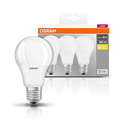 Osram Led ReplacementFrostedPack W Classic Screw To Aled Lamp 50 240 V60 W220 BaseE279 Base Of 3 With DW2HIYE9