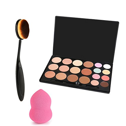 VONISA 20 Colour Makeup Cream Contour Kit-Camouflage Concealer-Professional Face Corrector Highlighting Palette-Cosmetics Foundation Contouring Highlighter+Oval Toothbrush Brush Beauty Blender+puff by VONISA