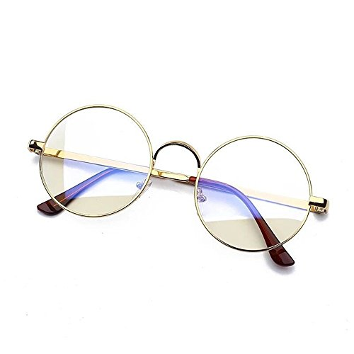 Fashion Glasses-brillenfassungen Goggles Blu-ray Strahlung Runde Frame, Gold Frame Blue Film