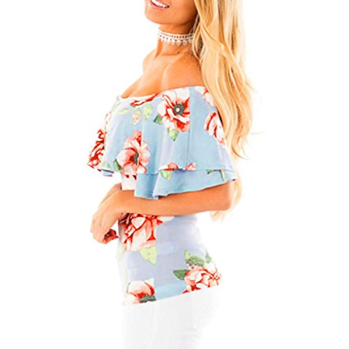 OverDose Damen Spitze weg vom Schulter-beiläufige kurze Hülsen-T-Shirt Spitzenbluse F-Blau