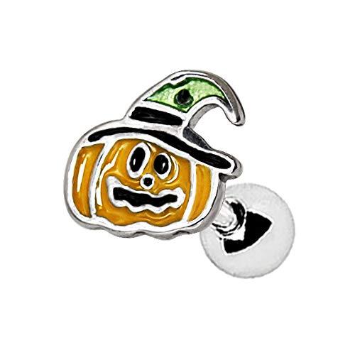 1 x gelb grün und schwarz Emaille Halloween Kürbis 1,2 x 6 mm Chirurgenstahl Tragus/Knorpel Oberohr Ohrring Conch Barbell Stud Bar Piercing Schmuck