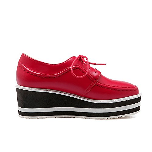 AgooLar Femme Couleur Unie Pu Cuir à Talon Correct Rond Lacet Chaussures Légeres Rouge