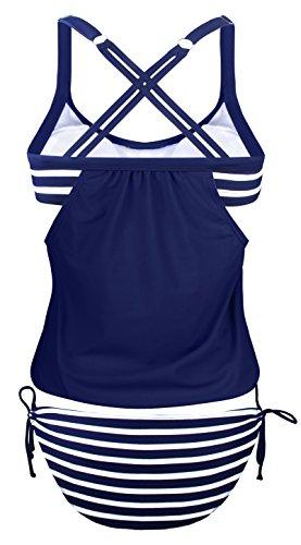 Angerella Damen Vintage Striped Gefüttert Double Up Tankini Two Pieces Badeanzug Bikini Set Navy